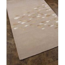 Hand-tufted Sand Wool and Art Silk Rug (5' x 8') - Thumbnail 1