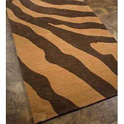 Hand-tufted Wool and Art Silk Brown Zebra Print Rug (8' x 11') - Thumbnail 1