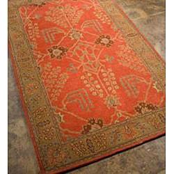 Hand-tufted Orange/ Brown Wool Rug (8' x 11') - Thumbnail 1