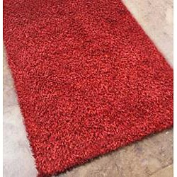 Hand-woven Red Shag Rug (5' x 8')