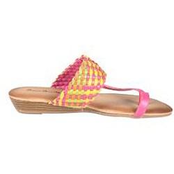 Refresh by Beston Women's 'Tokyo-15' Fuchsia Multicolor Braided Thong Sandal - Thumbnail 1