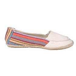 Refresh by Beston Women's 'Lala' Beige Striped Canvas Boat Shoes - Thumbnail 1