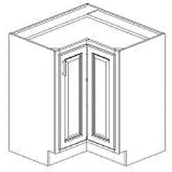 Base Lazy Susan Antique White 36 x 34.5 in. Corner Cabinet - Thumbnail 1