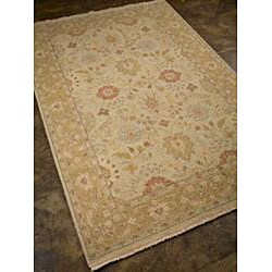 Hand-knotted Ivory/ Brown Wool Rug (9' x 12') - Thumbnail 1