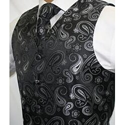 Ferrecci Men's Black/ Grey Paisley 4-piece Vest Set - Thumbnail 1