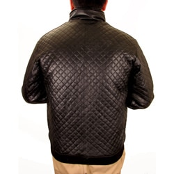 Hudson Outerwear Men's Black Leather Quilted Jacket - Thumbnail 1