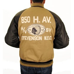 Hudson Outerwear Men's Big and Tall 'All-American' Cotton and Leather Varsity Jacket - Thumbnail 1