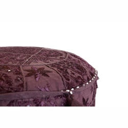 nuLOOM Handmade Casual Living Indian Round Purple Pouf - Thumbnail 1