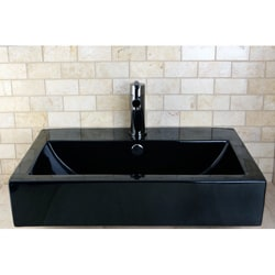 Black Vitreous China Rectangular Recess Table/ Wall Mount Bathroom Sink