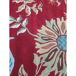 Hand-tufted Antoinette Red Wool Rug (5' x 7'6) - Thumbnail 1