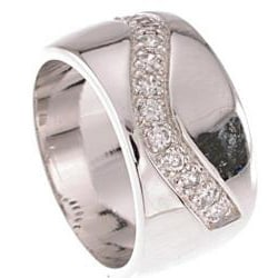 Sterling Silver Clear Cubic Zirconia Pave Band - Thumbnail 1