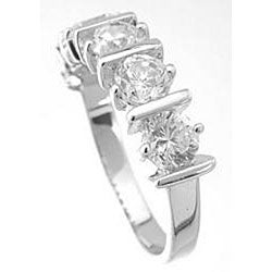 Sterling Silver Round-cut Cubic Zirconia Bar-style Ring - Thumbnail 1