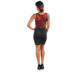 Stanzino Women's Sheer Red Flower Black Dress