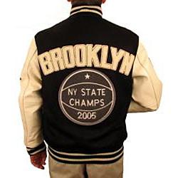 Hudson Outerwear Men's Brooklyn Wool/ Leather Varsity Jacket - Thumbnail 1