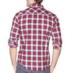 191 Unlimited Men's Red Plaid Flannel Shirt - Thumbnail 1