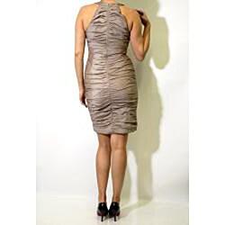 R & M Richards Women's Taupe Stretch Taffeta Embellished Halter Cocktail Dress