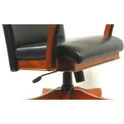 Innovex Black Leather and Cherry Wood Executive Chair on Five Casters - Thumbnail 1