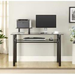 Innovex Black Glass Computer Desk - Thumbnail 1