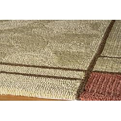 South Beach Tan Wright Colorblocked Indoor/Outdoor Rug (5' x 8')