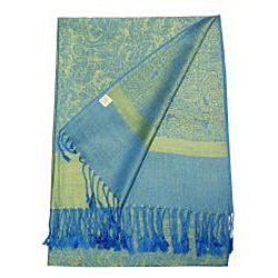 Women's Blue and Green Jacquard Fringe Shawl Wrap - Thumbnail 1