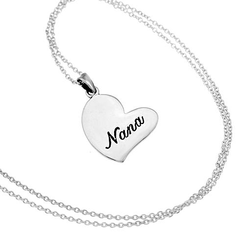 Chuvora Sterling Silver 'Nana' Heart Necklace - Thumbnail 1