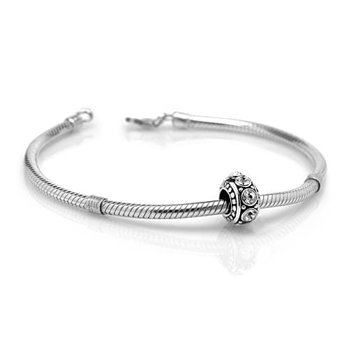 Chuvora Sterling Silver Clear Cubic Zirconia Charm Bead - Thumbnail 1