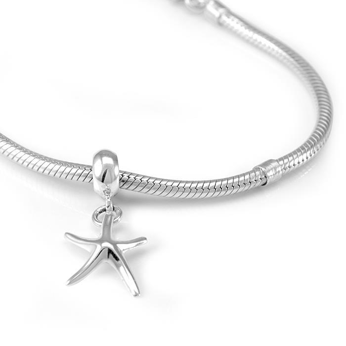 Chuvora Sterling Silver Decorative Starfish Dangle Charm Bead - Thumbnail 1