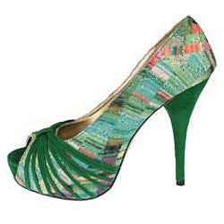 Elegant by Beston Women's 'Belly-1' Green Peep-toe Pumps - Thumbnail 1