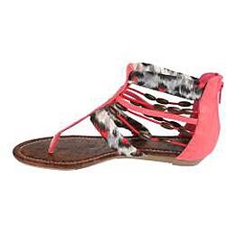 Elegant by Beston Women's 'Cherrie' Coral Gladiator Sandals - Thumbnail 1