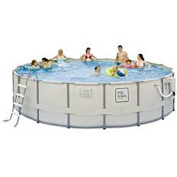 PRO Series 24-foot Round Metal Frame Pool Package - Thumbnail 1