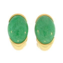 Mason Kay 18k Gold Oval Green Jadeite Half-hoop Earring