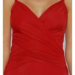 Jantzen Classic Surplice Wrap One-piece Red Swimsuit - Thumbnail 1