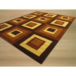 Hand-carved Modern Design Siro Brown Rug (5'3 x 7'3) - Thumbnail 1