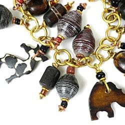 Animal Charm Bracelet with Paper Beads (Kenya)