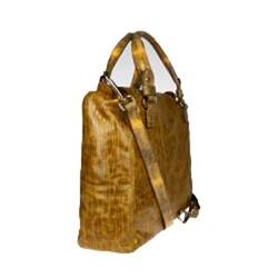 Vintage Reign Golden Olive Leather Tote Handbag