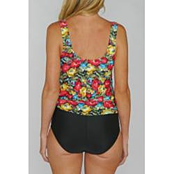 Island Pearls Missy Red Floral Faux 1-piece Tankini - Thumbnail 1