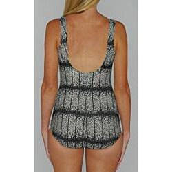 Island Pearls Missy Black/ Tan Ditzy Shirred 1-piece Swimsuit - Thumbnail 1