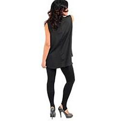 Stanzino Women's Plus Size Black Embellished Neckline Top
