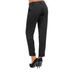Stanzino Women's Black Cuffed Pleated Pants - Thumbnail 1