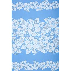 Batik Blue/ White 3-row Hibiscus Sarong (Indonesia) - Thumbnail 1