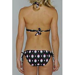Island World Juniors 'Black Splash' Halter and Keyhole Bottom Bikini