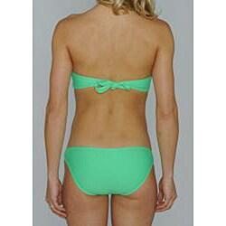 Island World Junior's Twisted Halter Top & Hipster Bikini Bottom in Green - Thumbnail 1