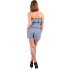 Stanzino Women's Blue Denim Ruffle Belted Romper