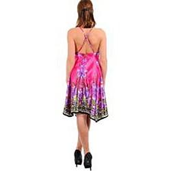 Stanzino Women's Fuchsia Floral Print Halter Dress