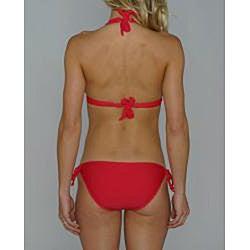 Island World Junior's Red Halter Keyhole Bottom Bikini - Thumbnail 1