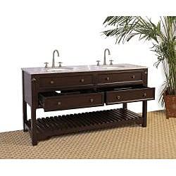 Granite Top 68-inch Double Sink Bathroom Vanity - Thumbnail 1