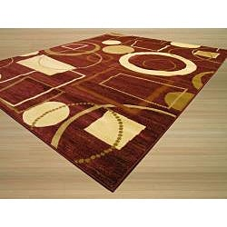 Hand-carved Red Stripes Geometric Rug (7'10 x 9'10) - Thumbnail 1