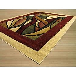 Hand-carved Red/ Beige Abstract Rug (7'10 x 9'10)
