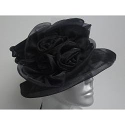 Swan Women's Black Organza Flower Packable Church Hat