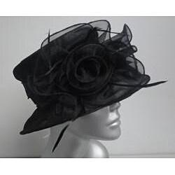 Swan Women's Black Organza Flowers Packable Church Hat